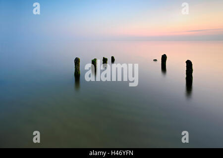 Sunset at west coast, Darß, Baltic Sea, Germany - Stock Photo