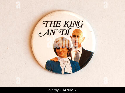 Royal Wedding Prince Charles and Lady Diana Spencer. 29th July 1981, pin button souvenir  badge. 1980s UK HOMER - Stock Photo