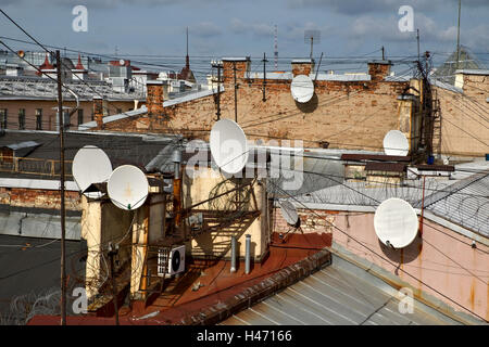 Roofs of Saint-Petersburg, Russia - Stock Photo
