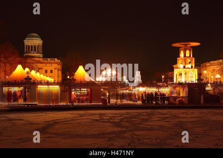 Berlin, Christmas market in front of the Charlottenburg Palace, evening, - Stock Photo