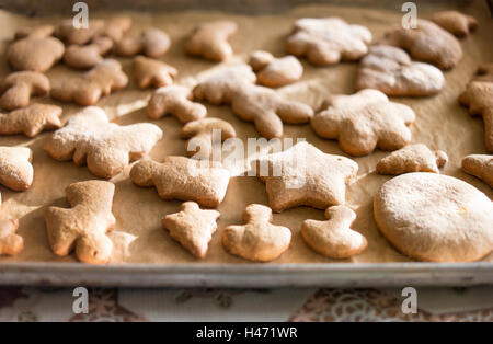 A pan of freshly baked gingerbreads. - Stock Photo