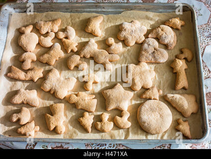 A pan of freshly baked gingerbreads - Stock Photo
