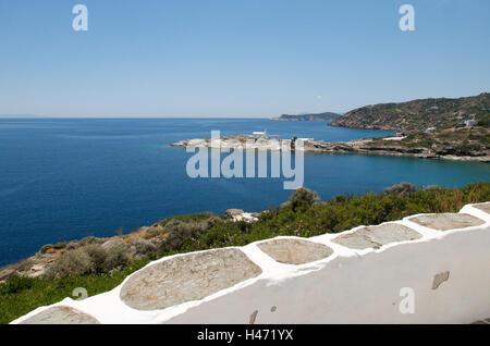 Coast, sea, monastery of Chrisopigi, island Sifnos, the Cyclades, Greece, - Stock Photo