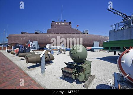 Germany, Wilhelmshaven, submarine U10, German naval museum on the south beach Wilhelmshaven, - Stock Photo