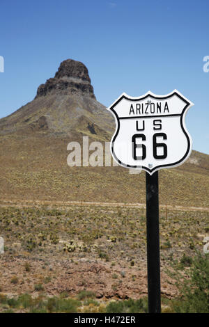 The USA, Arizona, Cool Springs, pass, Sitgreaves pass, route 66, sign, mountain, - Stock Photo