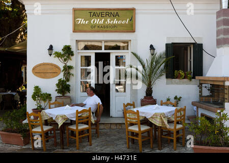 Greece, island Corfu, restaurant, terrace, Kassiopi, north-east Corfu, Southern, Europe, Europe, restaurant, gastronomy, - Stock Photo