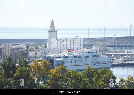 Spain, Andalusia, Malaga, harbour with lighthouse, - Stock Photo