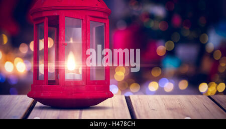 Composite image of red lantern on white background - Stock Photo