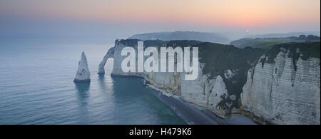 France, Normandy, Etretat, coast, sunrise, - Stock Photo