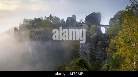 Germany, Saxony, Elbe Sandstone Mountains, Bastei bridge, morning fog, - Stock Photo