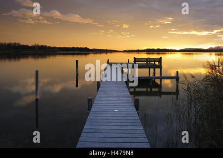 Germany, Bavaria, Lake Chiemsee, sunrise with Prien, - Stock Photo