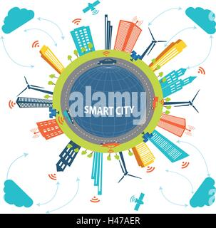 Smart City concept and Cloud computing technology  Internet networking concept  with different elements. Smart city - Stock Photo