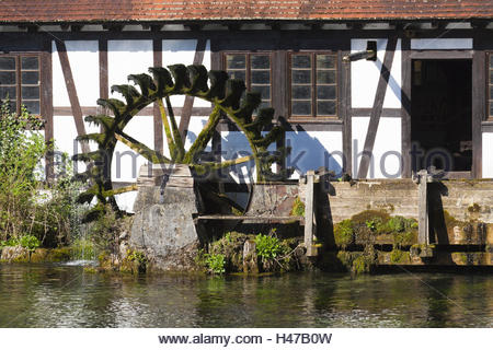 Blaubeuren, mill, mill wheel in the subterranean source of the Blautopf, - Stock Photo