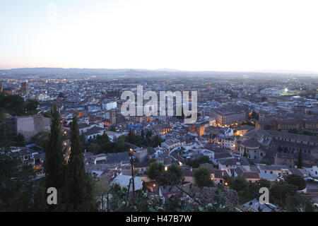 Spain, Andalusia, Granada, town view, dusk, - Stock Photo