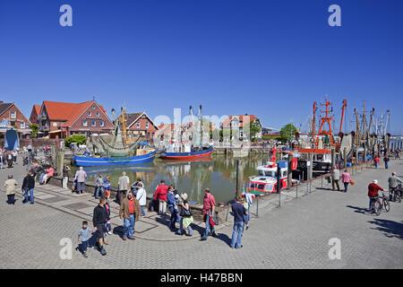 Crab cutters in the harbour Neuharlingersiel, - Stock Photo