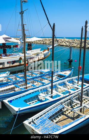 The port of Larnaca is the best place to choose the yacht for the tourist trip along the coast, Cyprus. - Stock Photo