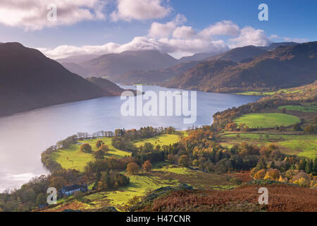 Ullswater from Gowbarrow Fell, Lake District National Park, Cumbria, England. Autumn (November) 2014. - Stock Photo