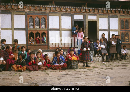 Bhutan, building, temple feast, Bhutanese, wait, Asia, the Himalayas, kingdom, Zentralbhutan, culture, faith, religion, - Stock Photo