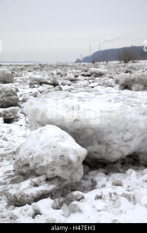 Elbufer, pack ice, - Stock Photo