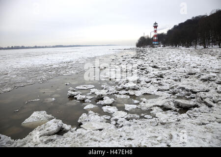 The Elbe, pack ice, - Stock Photo