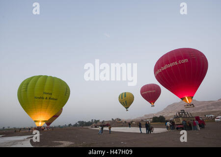 Egypt, Luxor, west bank, hot-air balloons in the early morning, - Stock Photo