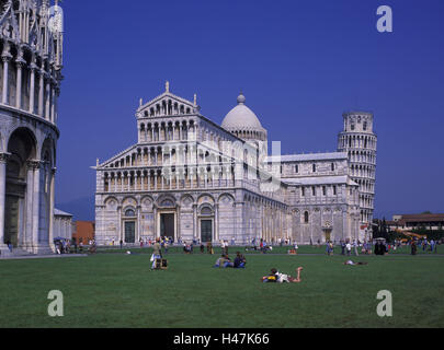 Italy, Tuscany, province Pisa, Pisa, Piazza dei Miracoli, baptistry, cathedral and Campanile, - Stock Photo