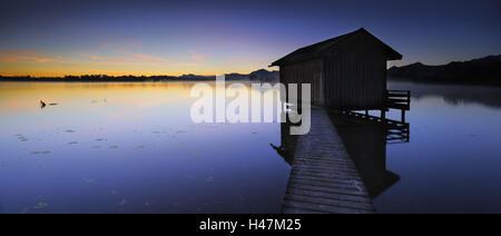 Germany, Bavaria, Lake Chiemsee, sunrise near Schafwaschen, - Stock Photo
