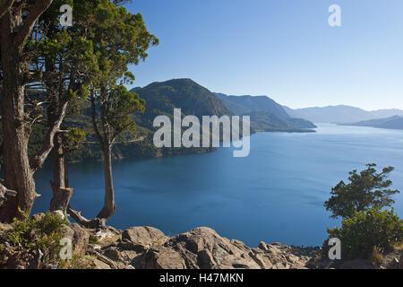Argentina, Patagonia, San Martin, lake Lago Lacar, - Stock Photo