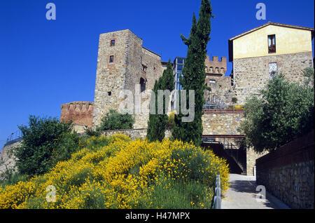 Italy, Tuscany, Casole d'Elsa, fortress, broom, fortress place, building, fortress place, building, city hall, pinnacles, - Stock Photo