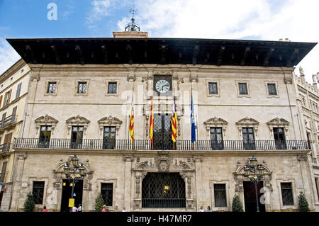 Spain, the Balearic Islands, Majorca, Palma, Old Town, city hall, capital, space, administration, building, outside, - Stock Photo