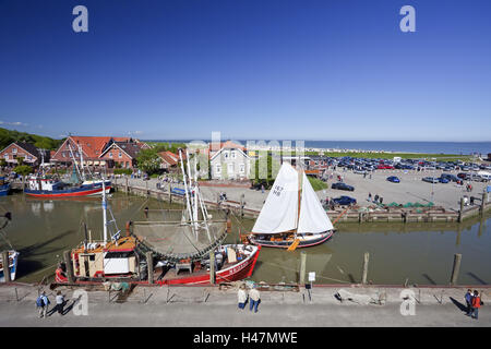 Crab cutters in the harbour Neuharlingersiel, overview, - Stock Photo