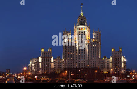 Moscow, panorama, Stalin's construction, residential house Kotelnitscheskaja Nabereschnaja, in the evening, - Stock Photo