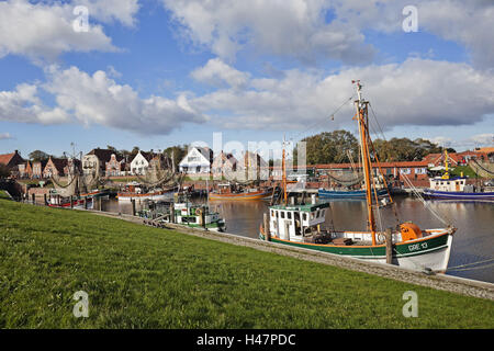 Autumn mood, crab cutter in the harbour Greetsiel, - Stock Photo