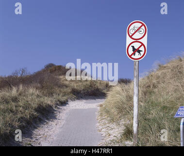 Germany, Lower Saxony, island, Langeoog, dunes, no parking sign, dogs, bicycles, North Germany, North Sea island, - Stock Photo
