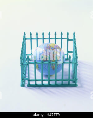 Toys, fence, globe, model fence, turquoise, fence grid, miniature, ground, conception, icon, demarcation, containment, - Stock Photo