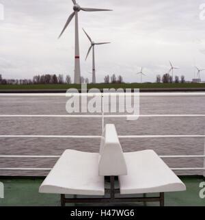 Germany, Lower Saxony, Emden, Ems, Dollart, ferry, detail, deck, saddle, rail, water, wind turbines, navigation, - Stock Photo