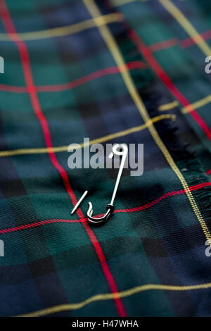 Scot's square, substance sample, safety pin, opened, Stilllife, close up - Stock Photo