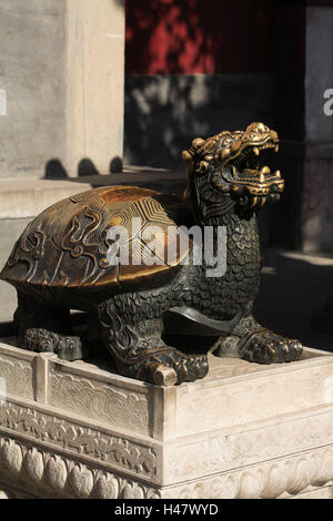 China, Peking, Beihai park, jade Flowery, Islet, bronze sculpture, 'tortoise', Asia, culture, art, capital, park, - Stock Photo