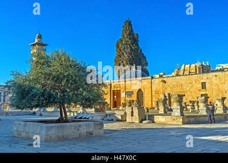 The courtyard of Islamic Museum with the capitals of the ancient columns, Jerusalem Israel - Stock Photo