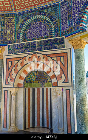 The stone mihrab in the Dome of the Chain richly decorated with stone, glazed tiles and paintings, Jerusalem Israel - Stock Photo