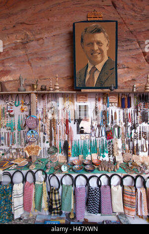 Souvenir shop with a photo of King Abdullah in front of the Urn Tomb. Petra, Jordan. - Stock Photo