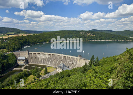 Germany, Hessen, Waldecker Land, Edersee, Eder Dam, panorama, sailboats, - Stock Photo