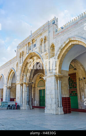 The facade of Al-Aqsa Mosque decorated with the stone arcade, Jerusalem, Israel. - Stock Photo