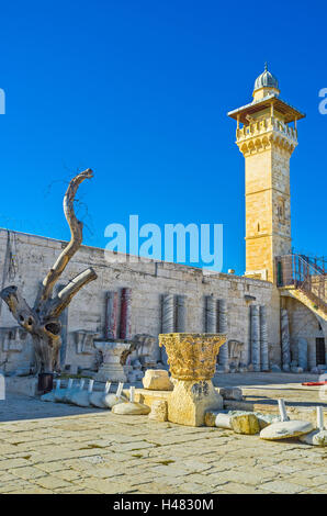 Al-Fakhariyya Minaret of Al-Aqsa Mosque neighboring with the archaeological site of the Temple Mount, Jerusalem, - Stock Photo
