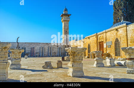 The carved capitals of the ancient columns and other artifacts in front of Islamic Museum on the Temple Mount, Jerusalem, - Stock Photo