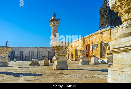 The yard of the carved columns next to Islamic Museum and Al-Aqsa Mosque, Jerusalem, Israel. - Stock Photo