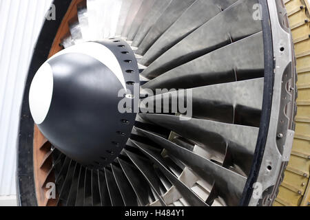 Close-up of a turbine fan nose with a black and white mark - Stock Photo