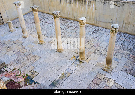 The ancient  Roman colonnade (Cardo) located in Jewish Quarter of Jerusalem, Israel. - Stock Photo