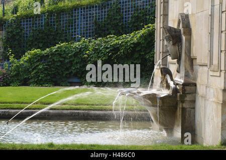 Castle Wackerbarth, fountain in the baroque garden, Radebeul, Saxony, Germany, - Stock Photo