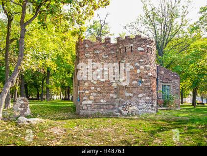 Ruins of medieval building in Kalemegdan park in Belgrade, Serbia. - Stock Photo